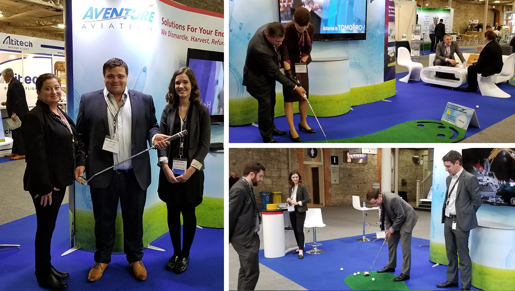 Aventure Aviation sponsors a putting contest at the Dublin Aviation Summit