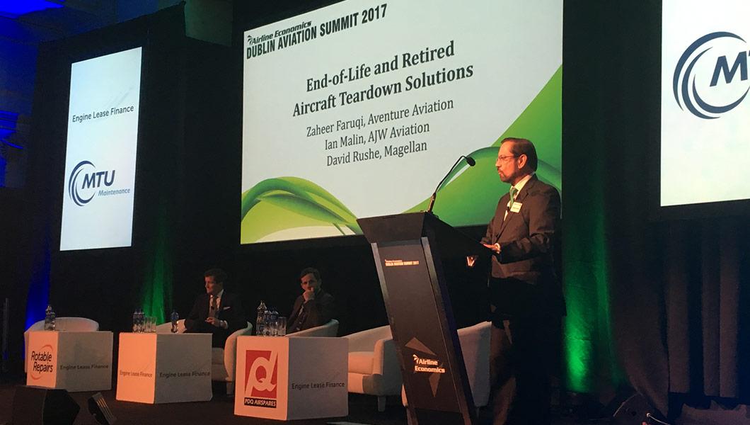 Zaheer Faruqi, President of Aventure Aviation moderates a panel at the Dublin Aviation Summit