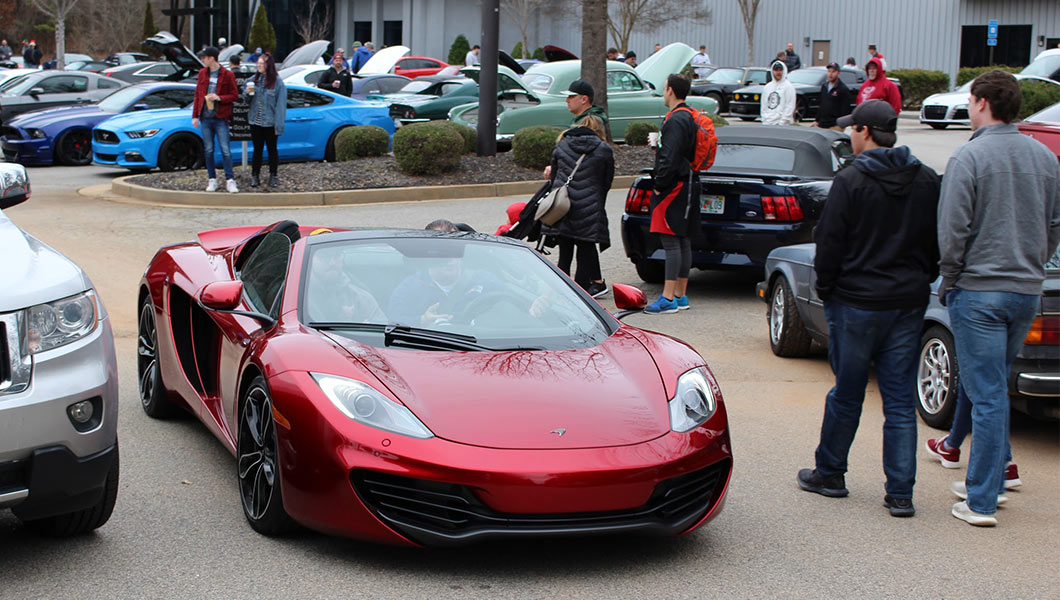 Exotic and other cars on display at Aventure Aviation's HQ
