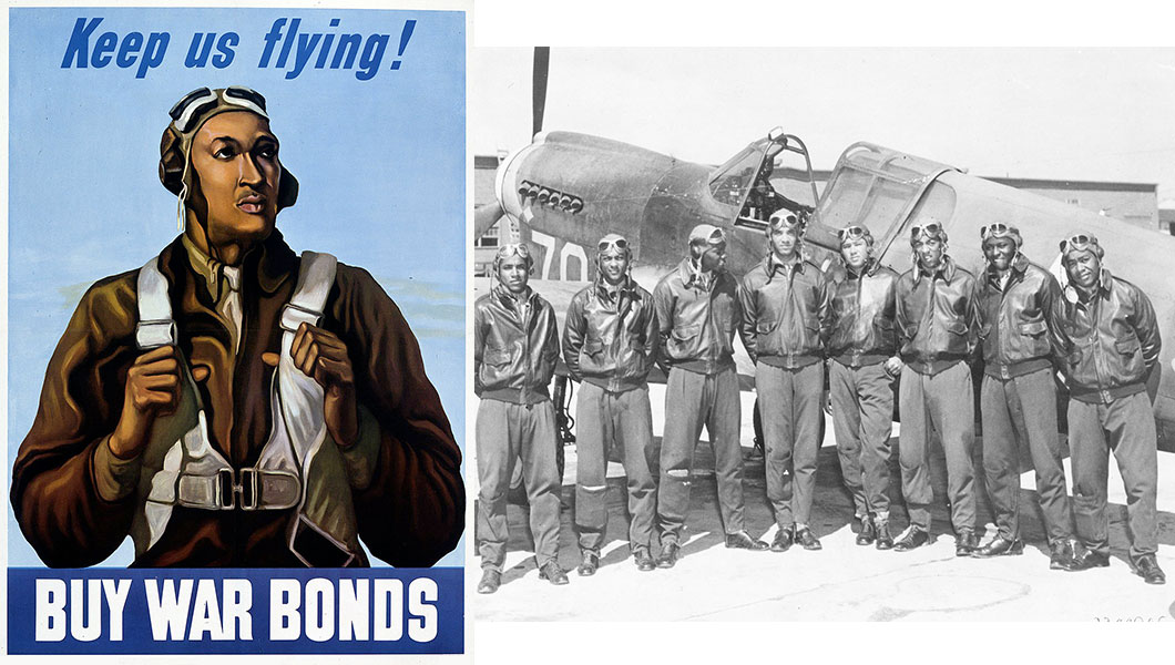 Aventure Aviation – Tuskegee Airman War Bonds poster (1943); 8 Tuskegee Airmen in front of a P-51 Mustang fighter (1942 or 1943)