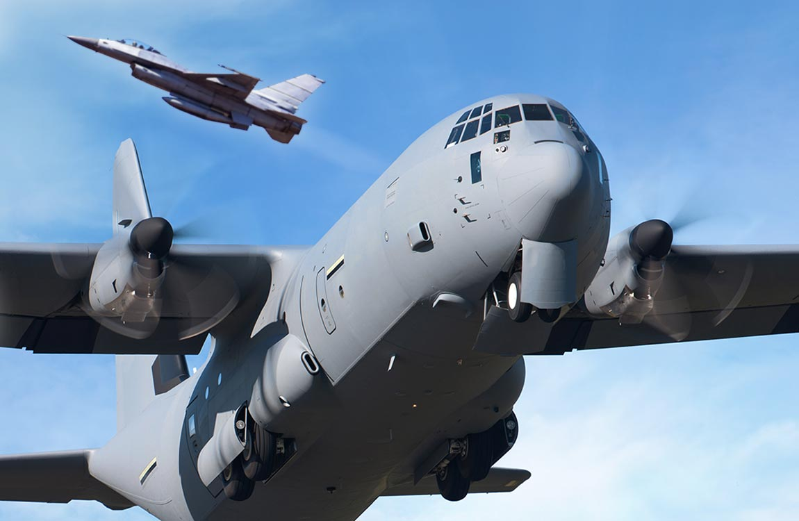 C-130 and F-16 aircraft in flight