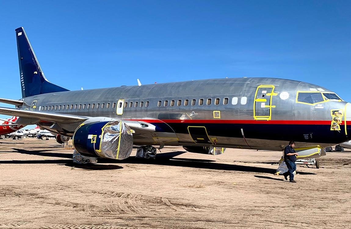 One of Aventure Aviation's former Aeromexico Boeing 737NGs, awaiting teardown in Marana, Arizona.