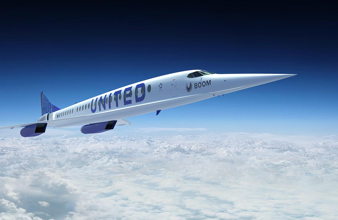 Artist rendering of a United Airlines supersonic passenger aircraft in flight